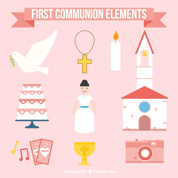 626x626 First Communion Girl Elements Collection Vector Free Download