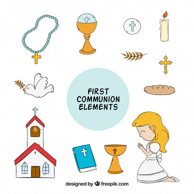 626x626 Girl With Hand Drawn First Communion Elements Vector Free Download
