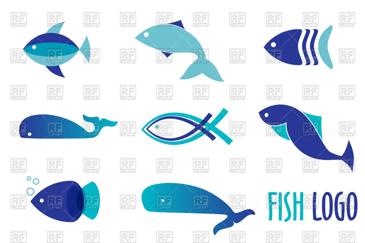 1200x799 Fish Icon Set For Seafood Restaurant Vector Image Vector Artwork