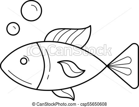 450x346 Raw Fish Vector Line Icon. Raw Fish Line Icon Isolated On White