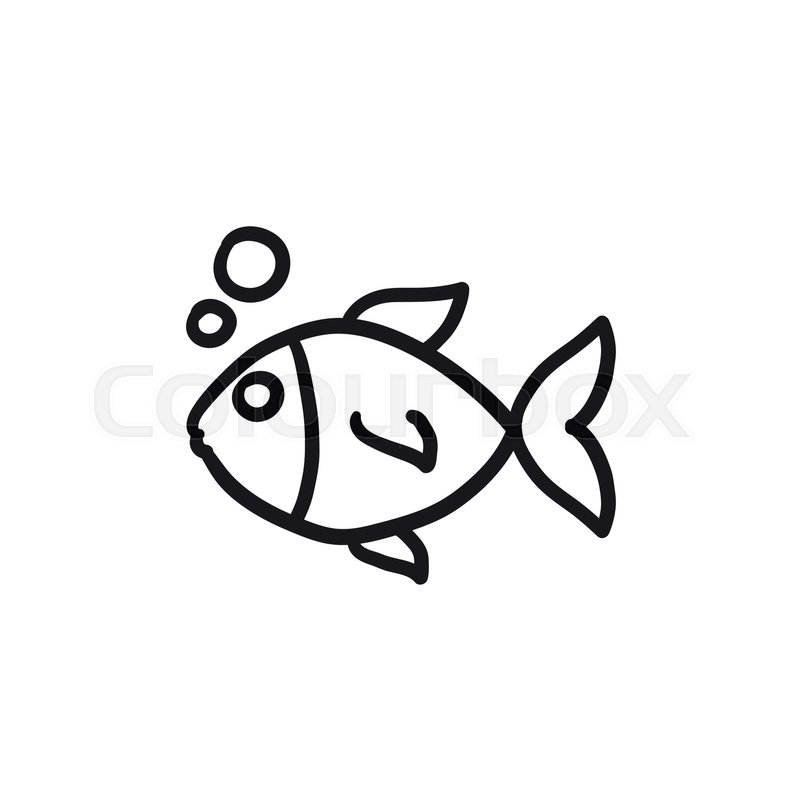 800x800 Small Fish Vector Sketch Icon Isolated On Background. Hand Drawn