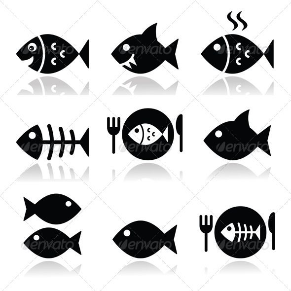 590x590 Fish, Fish On Plate, Skeleton Vector Icons Vectors Design