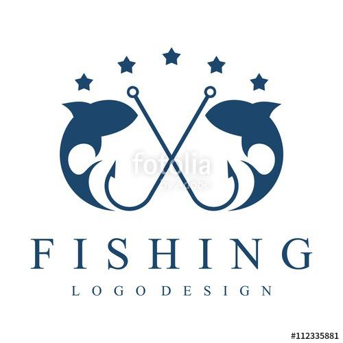 500x500 Fishing Logo, Hook, Fishing Rod, Hook, Simple Vector Design Logo