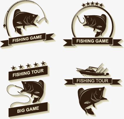 422x405 4 Exquisite Fish Logo Vector Material, Fishing, Junior Icon