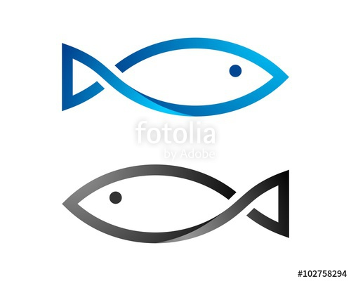 500x400 Simple Line Fish Logo Template Stock Image And Royalty Free