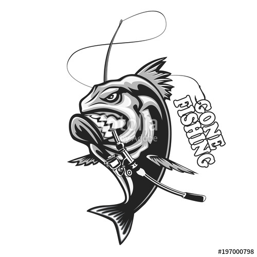 500x500 Angry Piranha Fishing Logo. Vector Illustration Can Be Used For