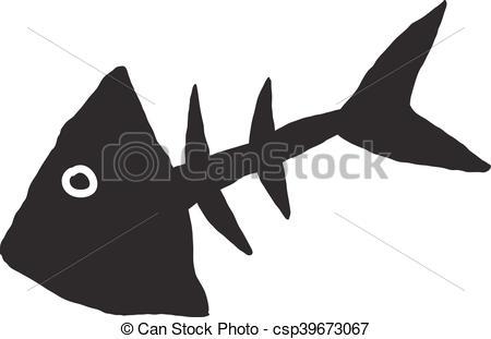 450x311 Primitive Fish Skeleton. Primitive Sketch Of The Skeleton Of Fish
