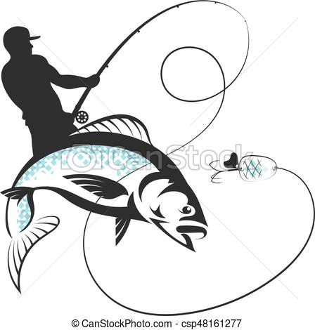 448x470 Fisherman With A Fishing Rod And Fish. Fisherman Catches Fish Vector.
