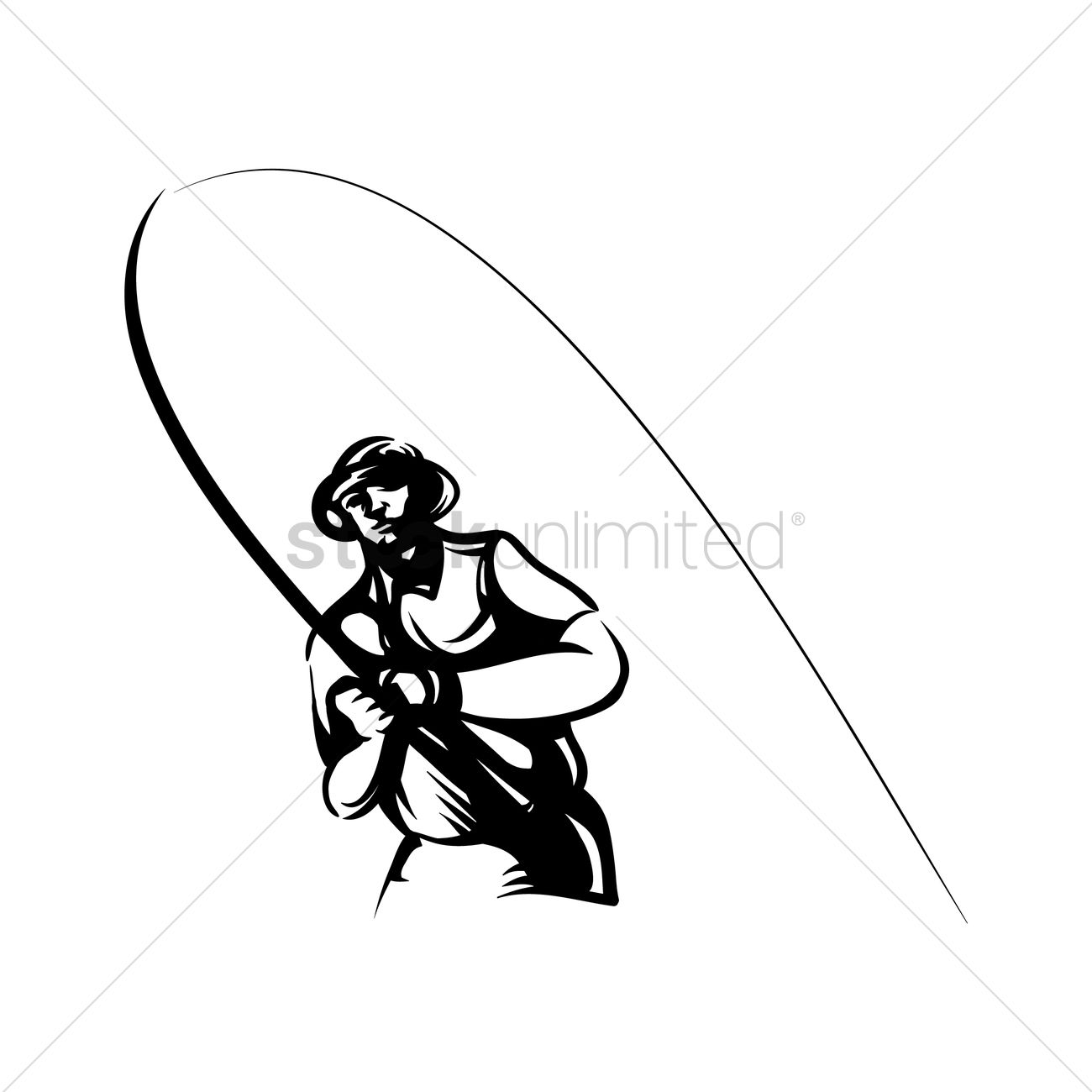 1300x1300 Fisherman With Rod Vector Image