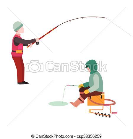 450x470 Fishing Fishermen Vector Catches Fish Fisher Threw Rod Into Water