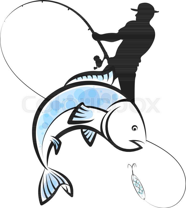 718x800 Fish, Fishing, Catching, Man, Fisherman, Vector, Illustration, Rod