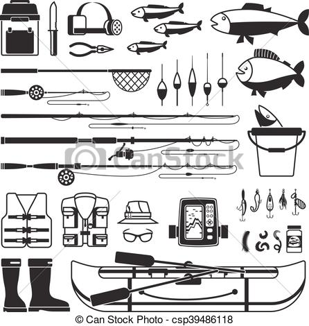 446x470 Fishing Vector Black Icons. Tackle And Bait, Bobber And Fisherman