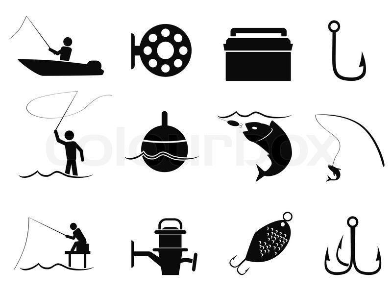 800x600 Isolated Black Fishing Icons Set From White Background Stock