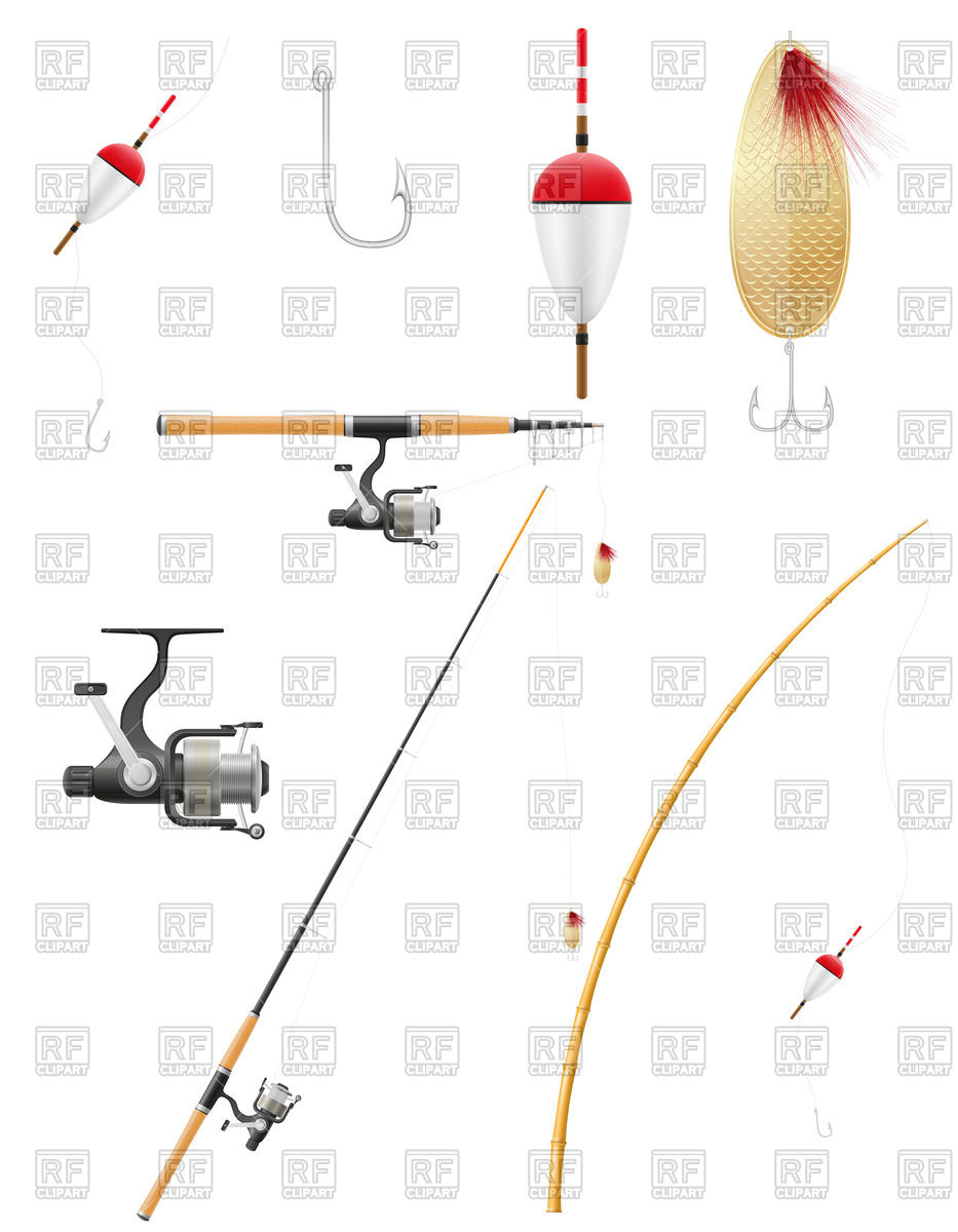 933x1200 Set Of Fishing Equipment (Fishhook, Rod, Tackle, And Bobber