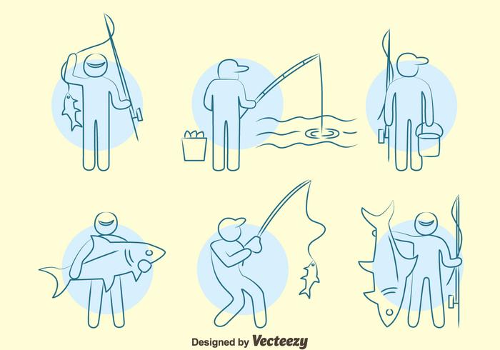 700x490 Fishing Fish Line Icons Vector Set