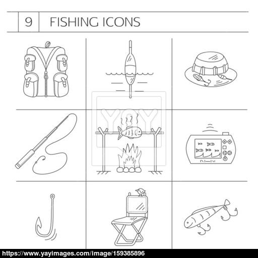 512x512 Fishing Line Icons. Vector
