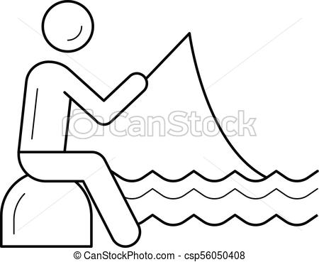 450x369 Fishing Line Icon. Fishing Vector Line Icon Isolated On White