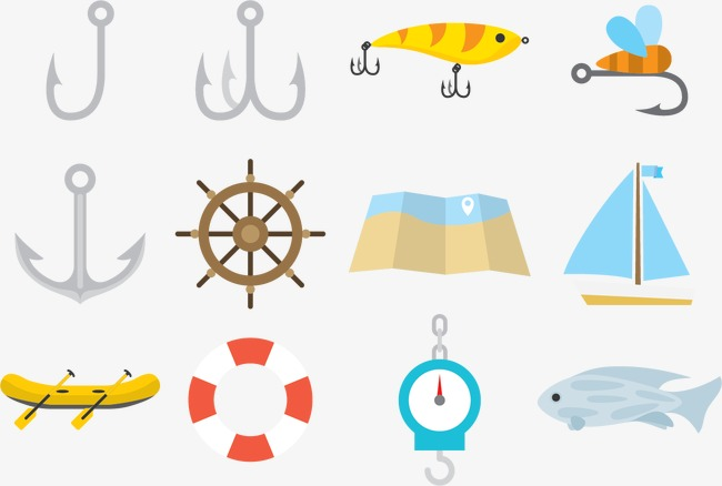 650x438 Vector Barbed Fish Hooks, Fish Vector, Vector, Fishing Line Png