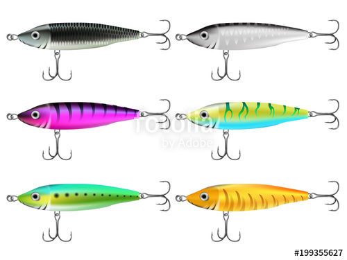 500x375 Fishing Lures Set Realistic Hooks Collection 2 Stock Image And