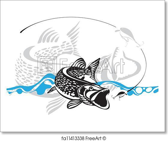 560x470 Free Art Print Of Pike, Fishing Lure, Vector Illustra. Pike