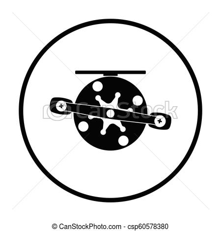 450x470 Icon Of Fishing Reel . Thin Circle Design. Vector Illustration.