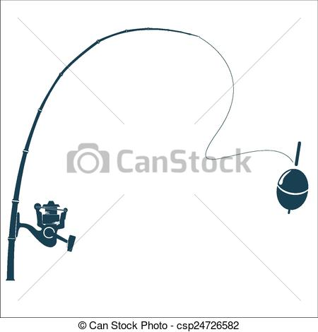 450x470 Fishing Rod On The White Backdrop. Vector Illustration.