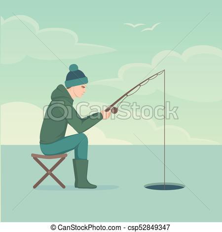 450x470 Vector Illustration Of A Cartoon Fisherman, Man Cath Fish On