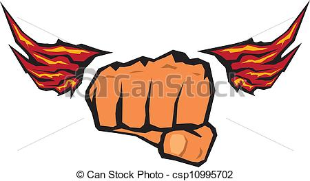 450x264 Freedom Concept. Vector Fist Icon. Fist Silhouette With Wings.