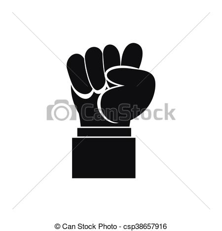 450x470 Raised Up Clenched Male Fist Icon, Simple Style. Raised Up