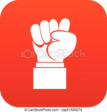 450x470 Raised Up Clenched Male Fist Icon Digital Red For Any Design