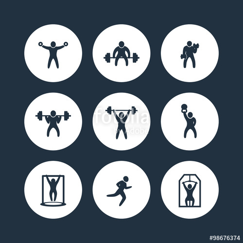 500x500 Gym, Fitness Exercises Round Icons, Gym Training, Workout Icon