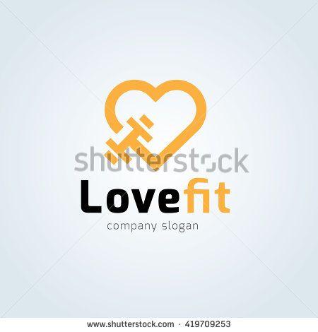 450x470 Love Fit Logo. Fitness Logo. Gym Logo. Vector Logo Template