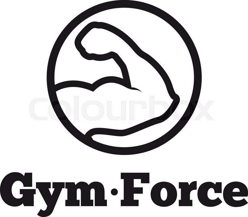800x700 Vector Modern Line Style Round Minimalistic Gym Logo. Fitness Club