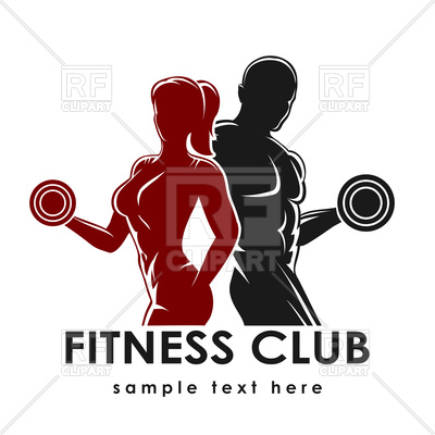 400x400 Fitness Club Emblem With Strong Woman And Man Vector Image