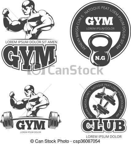 427x470 Fitness Vector Set Of Emblems, Labels, Badges, Logos. Dumbbell And