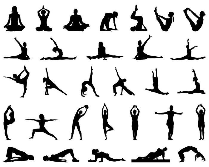 700x560 Silhouettes Of Yoga And Fitness, Vector Wall Mural We