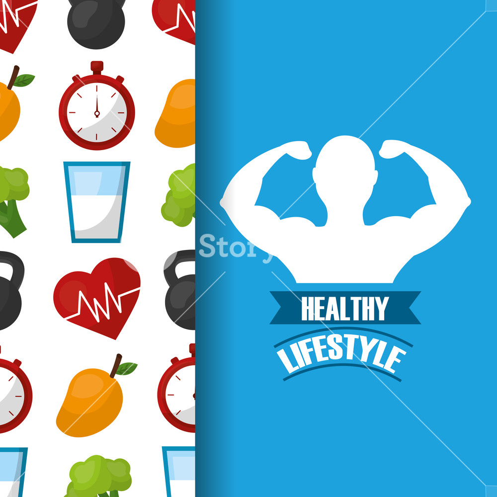 1000x1000 Healthy Lifestyle Strong Man Fitness Vector Illustration Royalty