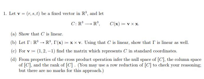 692x270 Solved 1. Let V (R,s, T) Be A Fixed Vector In R3, And Let