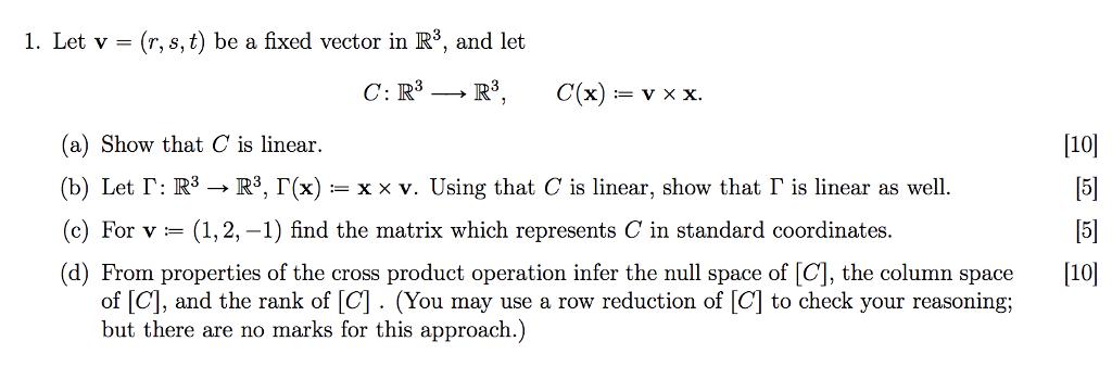 1024x349 Solved 1. Let V (R, S, T) Be A Fixed Vector In R3, And L