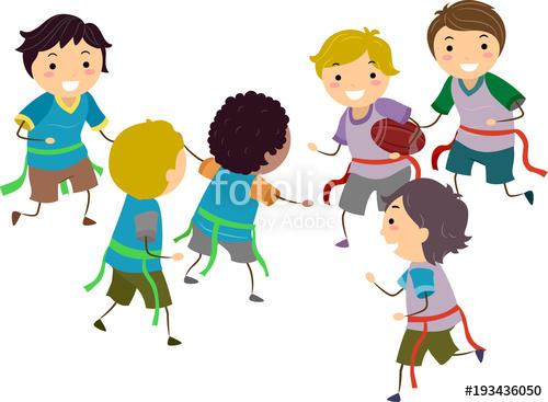 500x367 Stickman Kids Boys Flag Football Illustration Stock Image And