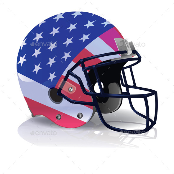 590x590 Vector American Football Helmet With American Flag By Enterlinedesign