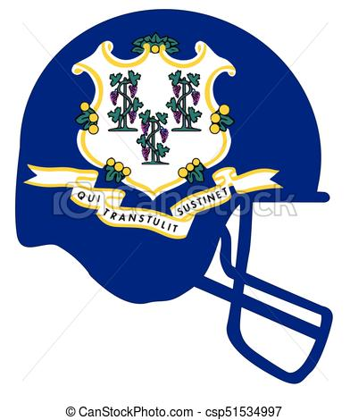 392x470 Connecticut State Flag Football Helmet. The Flag Of The Usa State