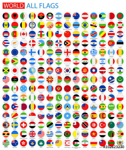 419x500 Flat Round All World Vector Flags. Vector Collection Of Flag Icons