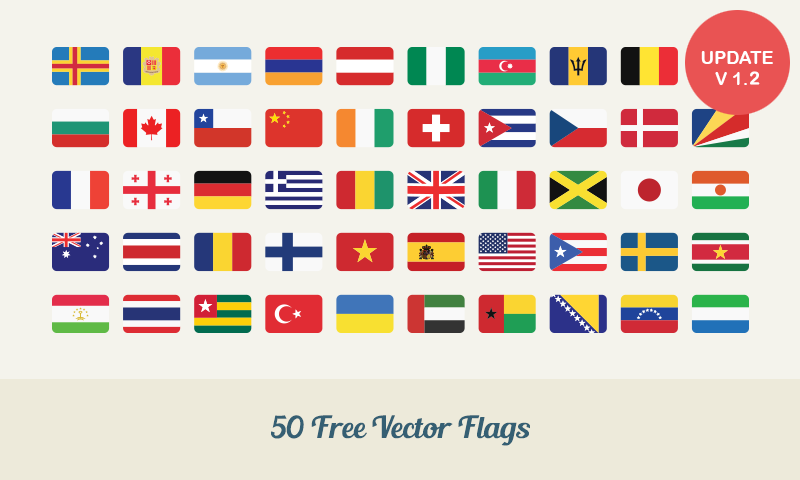 800x480 Free Download 50 Flat Vector Flags