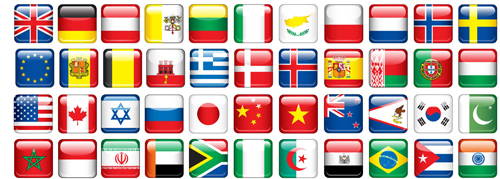 500x179 Glass Texture Flag Icons Vector Set 02 Free Download