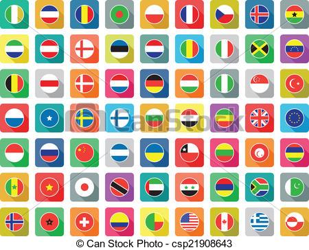 450x364 Large Set Of Colourful Flat World Flag Icons.