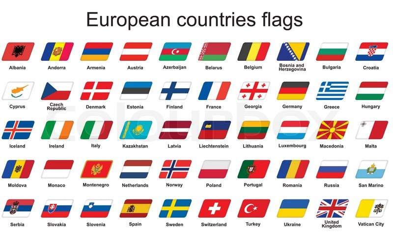 800x500 Set Of European Countries Flags Icons Stock Vector Colourbox