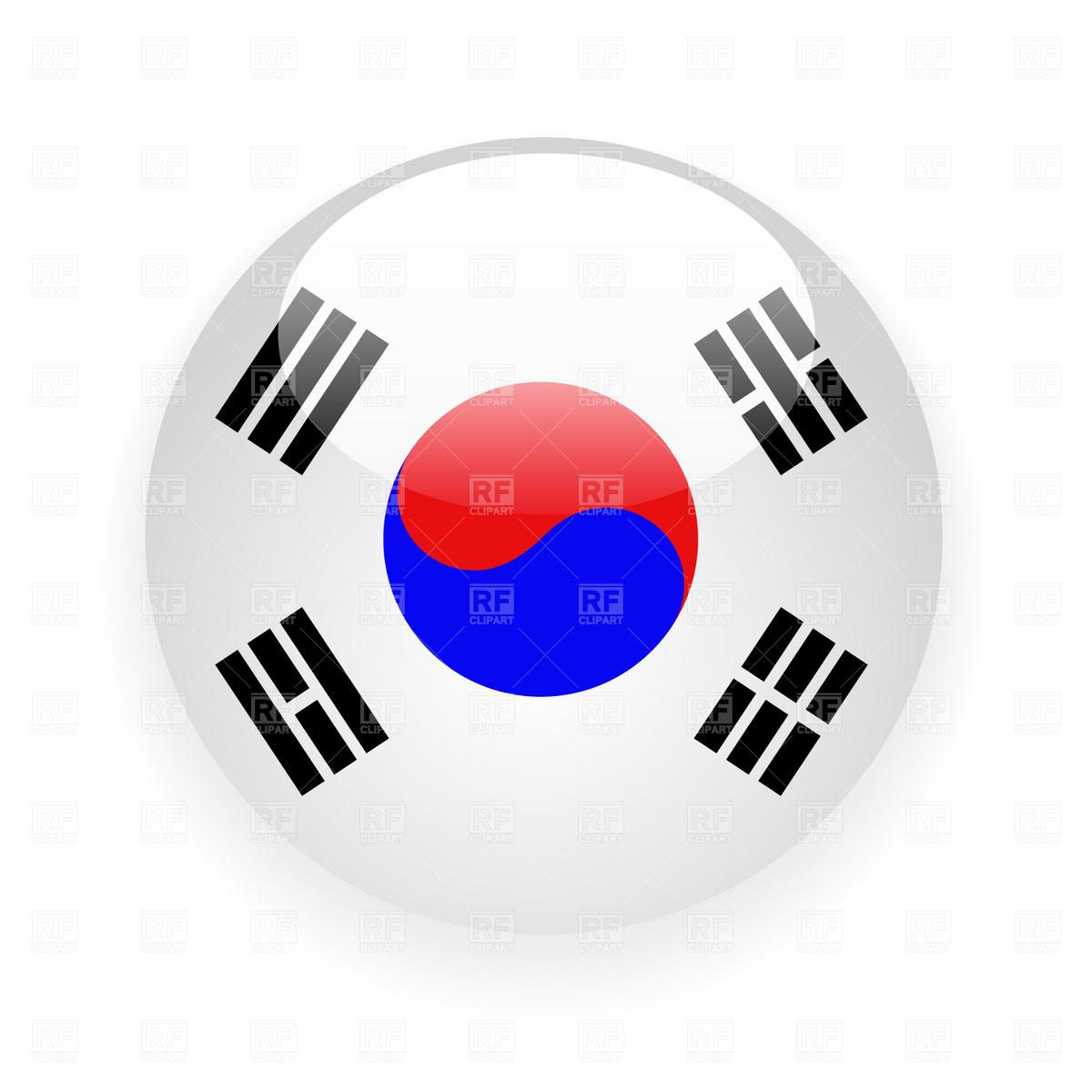 1200x1200 South Korea Button Flag Icon Vector Image Vector Artwork Of