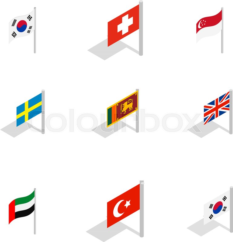 769x800 Country Flag Icon Set. Isometric Set Of Country Flag Vector Icons