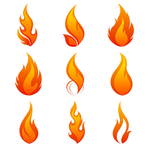 600x600 Elements Of Vivid Flame Vector Icon 01 Free Download